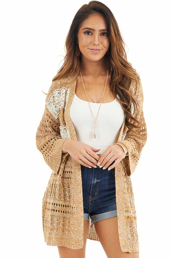 Taupe and Pearl Knit Sweater Cardigan Top with Lace Detail front close up