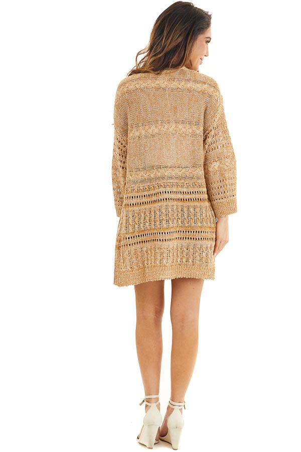 Taupe and Pearl Knit Sweater Cardigan Top with Lace Detail back full body