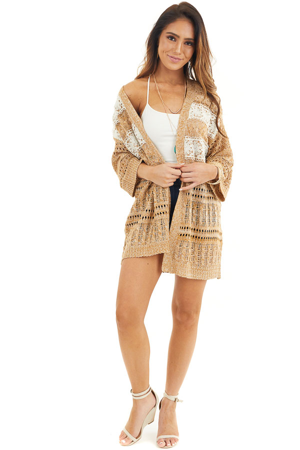 Taupe and Pearl Knit Sweater Cardigan Top with Lace Detail front full body