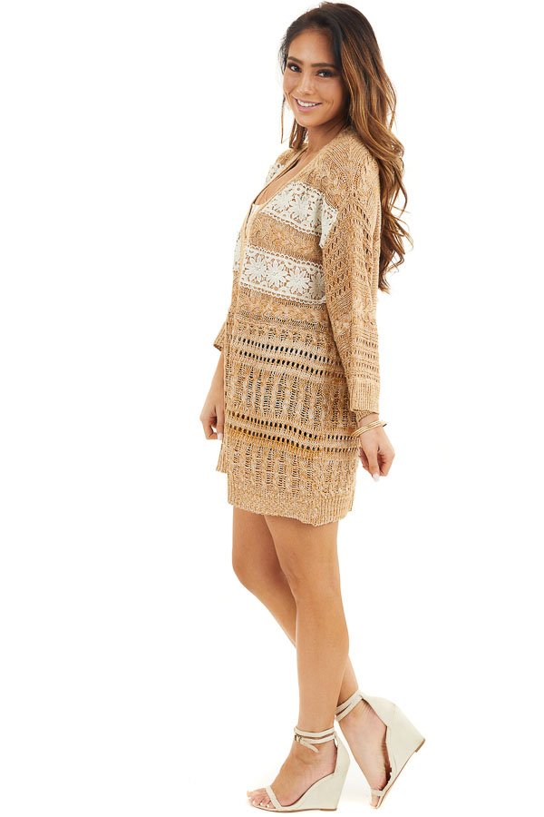Taupe and Pearl Knit Sweater Cardigan Top with Lace Detail side full body