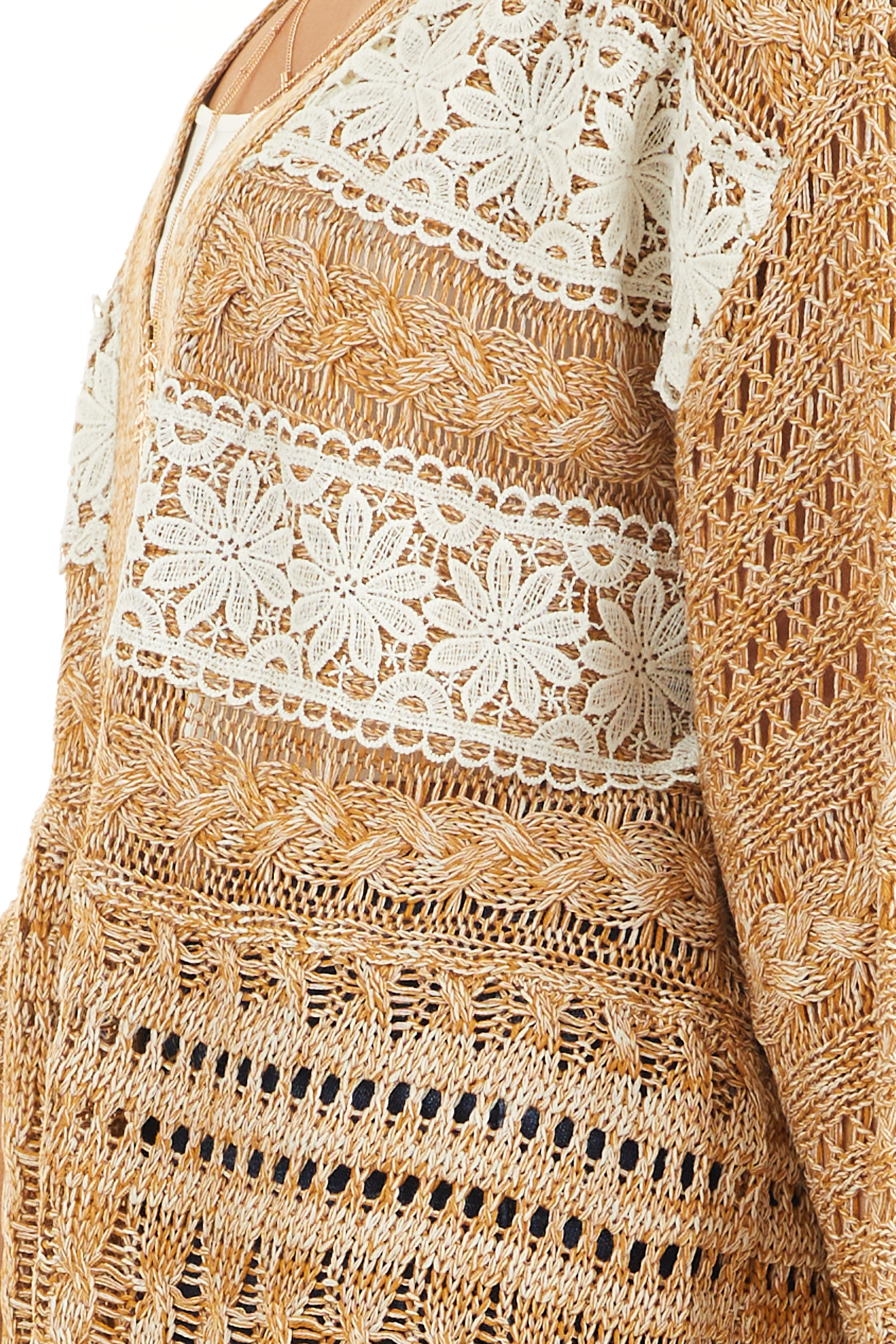 Taupe and Pearl Knit Sweater Cardigan Top with Lace Detail detail