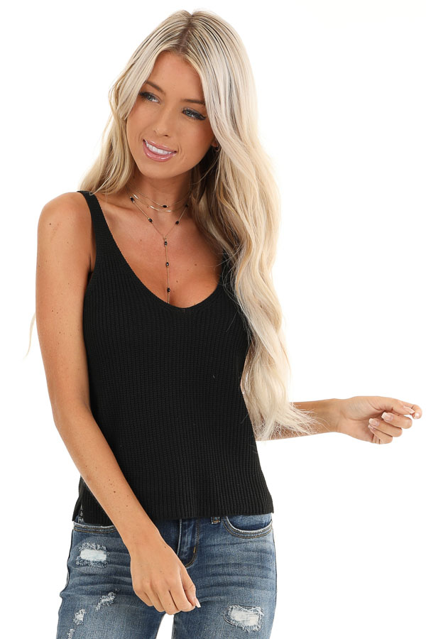 Obsidian Black Sleeveless Knit Tank Top with Scoop Neckline front close up