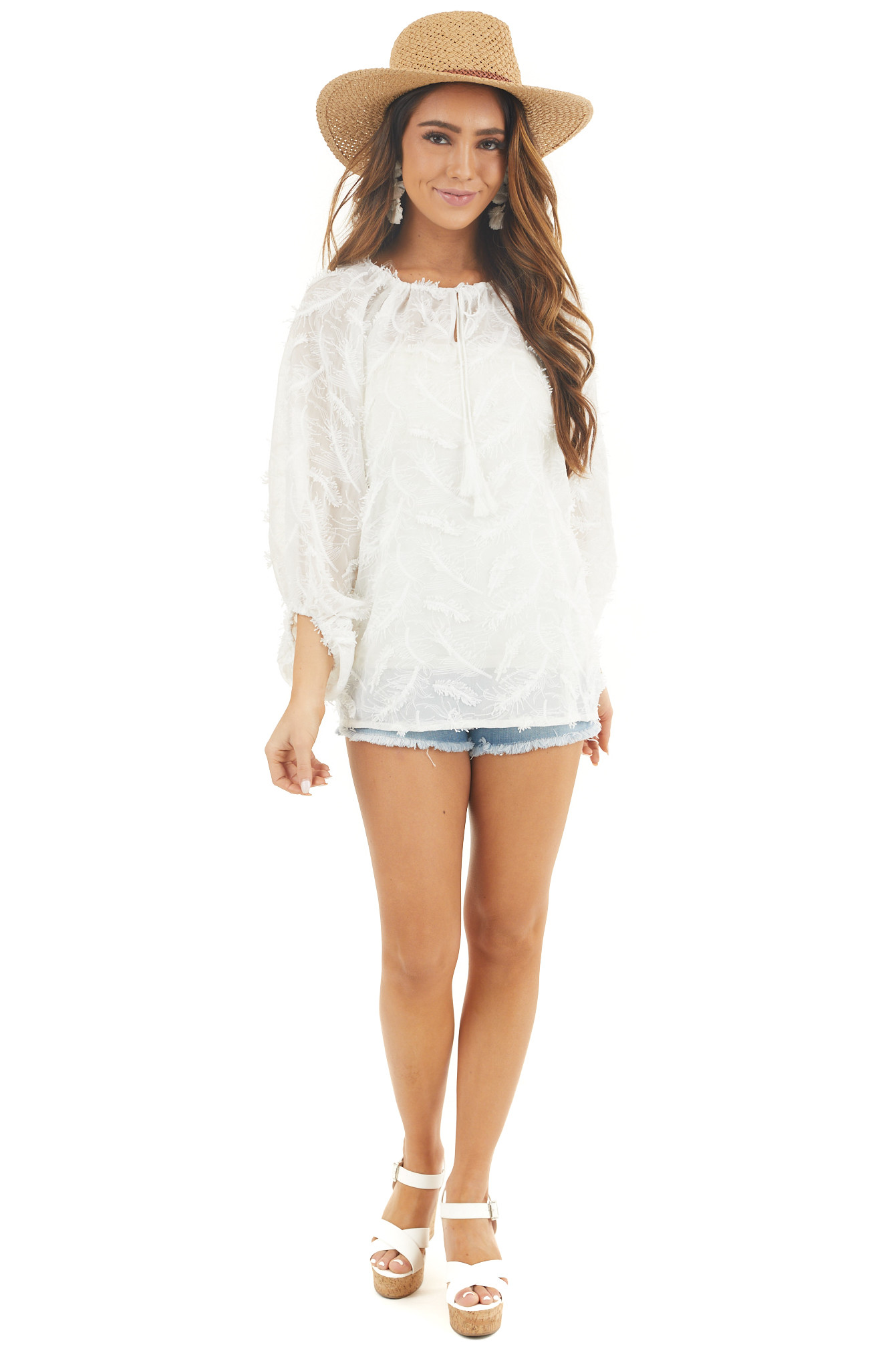 Coconut White Long Sleeve Sheer Feather Print Top
