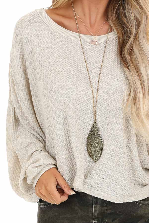 Oatmeal Cropped Texture Knit Top with Long Balloon Sleeves detail
