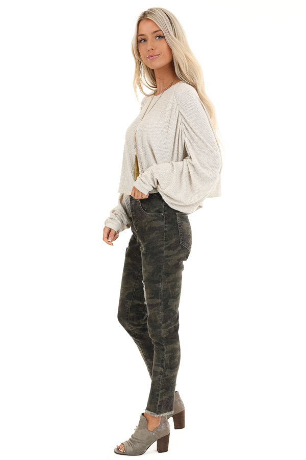Oatmeal Cropped Texture Knit Top with Long Balloon Sleeves side full body