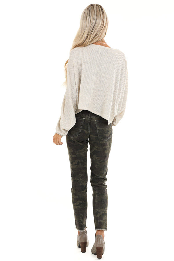 Oatmeal Cropped Texture Knit Top with Long Balloon Sleeves back full body