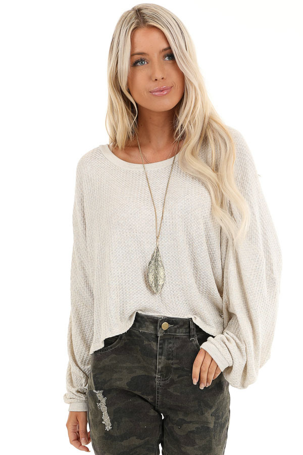 Oatmeal Cropped Texture Knit Top with Long Balloon Sleeves front close up