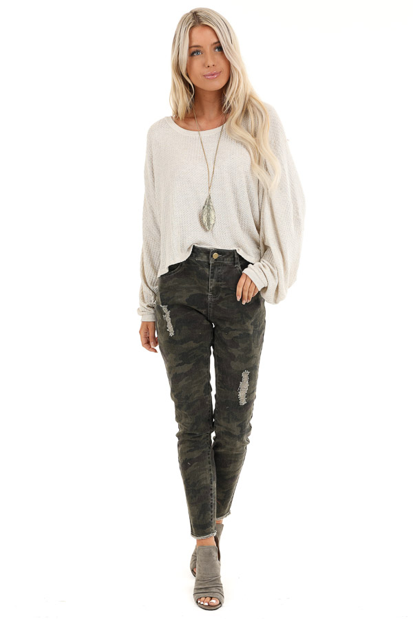 Oatmeal Cropped Texture Knit Top with Long Balloon Sleeves front full body