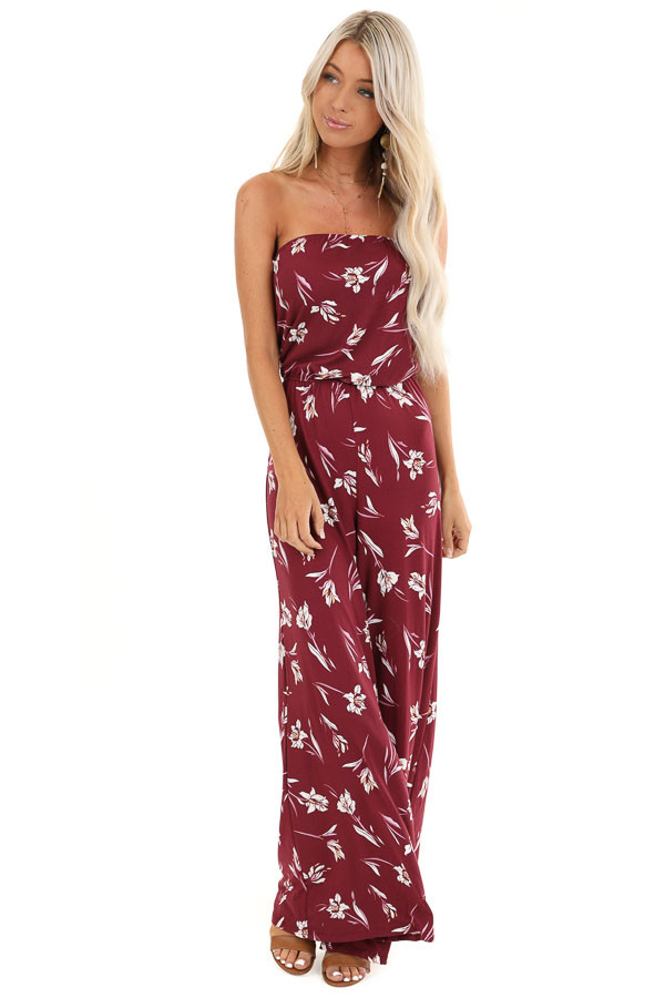 Burgundy Floral Print Strapless Jumpsuit with Flare Bottoms front full body