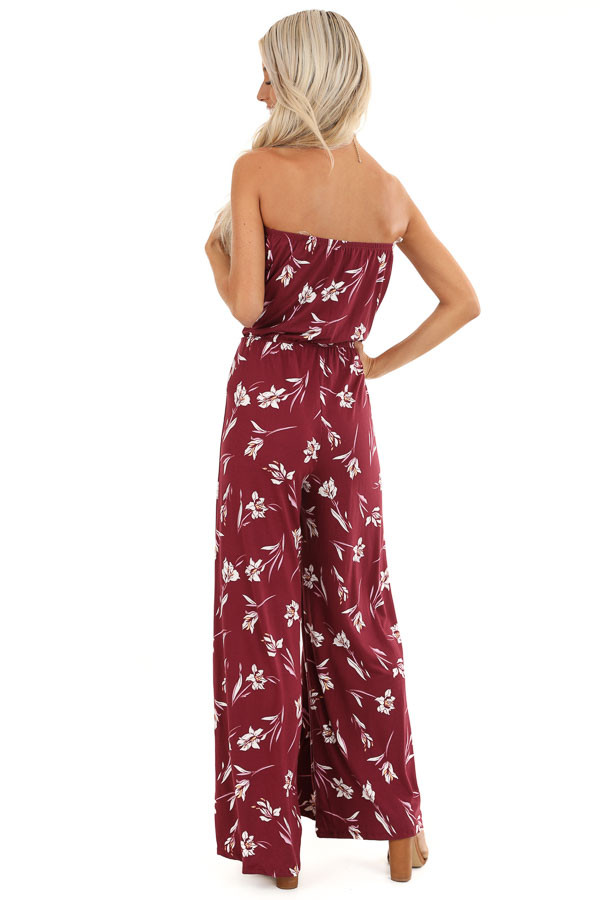Burgundy Floral Print Strapless Jumpsuit with Flare Bottoms back full body