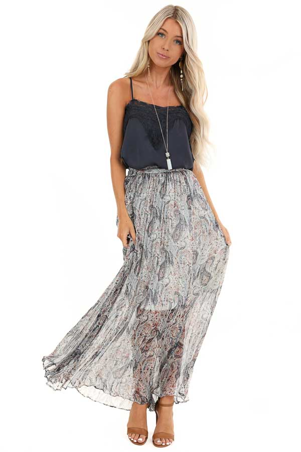 Off White Paisley Print Accordion Style Maxi Skirt front full body