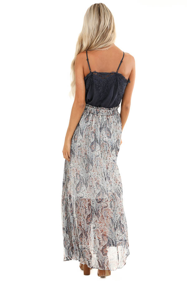 Off White Paisley Print Accordion Style Maxi Skirt back full body