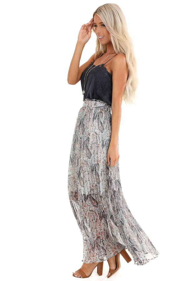 Off White Paisley Print Accordion Style Maxi Skirt side full body