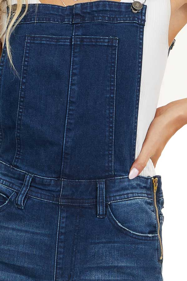 Dark Wash Distressed Skinny Denim Overalls