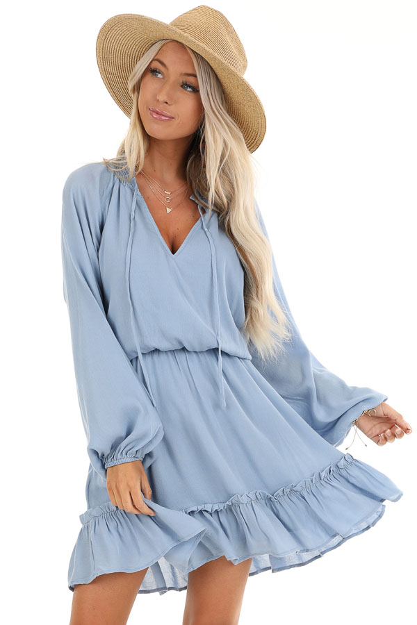 Powder Blue Long Sleeve Mini Dress with Smocked Neckline front close up