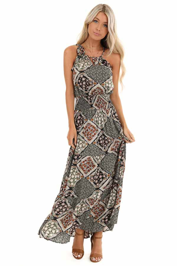 Dark Multicolor Patchwork Maxi Dress with Cutout Detail front full body