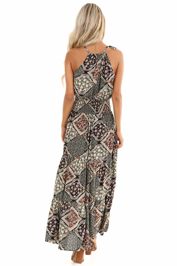 Dark Multicolor Patchwork Maxi Dress with Cutout Detail back full body