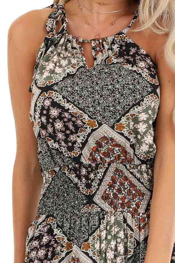 Dark Multicolor Patchwork Maxi Dress with Cutout Detail detail