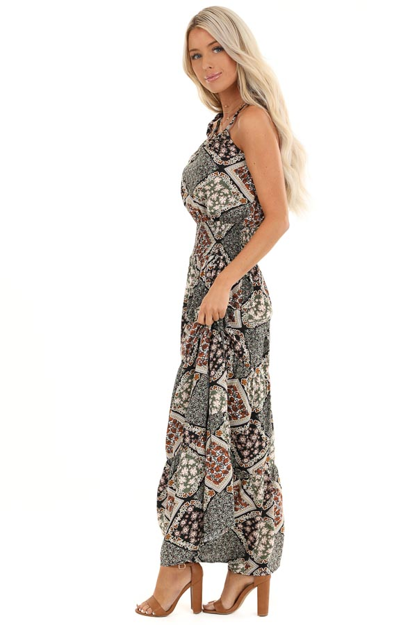 Dark Multicolor Patchwork Maxi Dress with Cutout Detail side full body