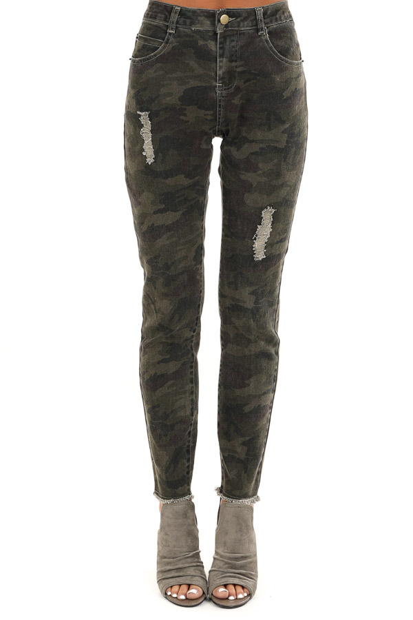 Olive Camo Print Mid Rise Skinny Distressed Denim Jeans front view
