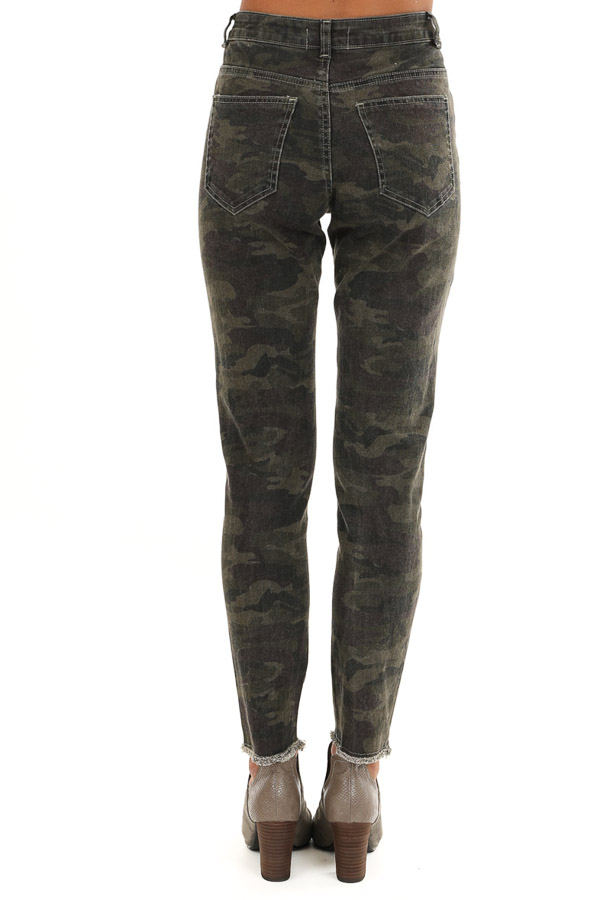 Olive Camo Print Mid Rise Skinny Distressed Denim Jeans back view