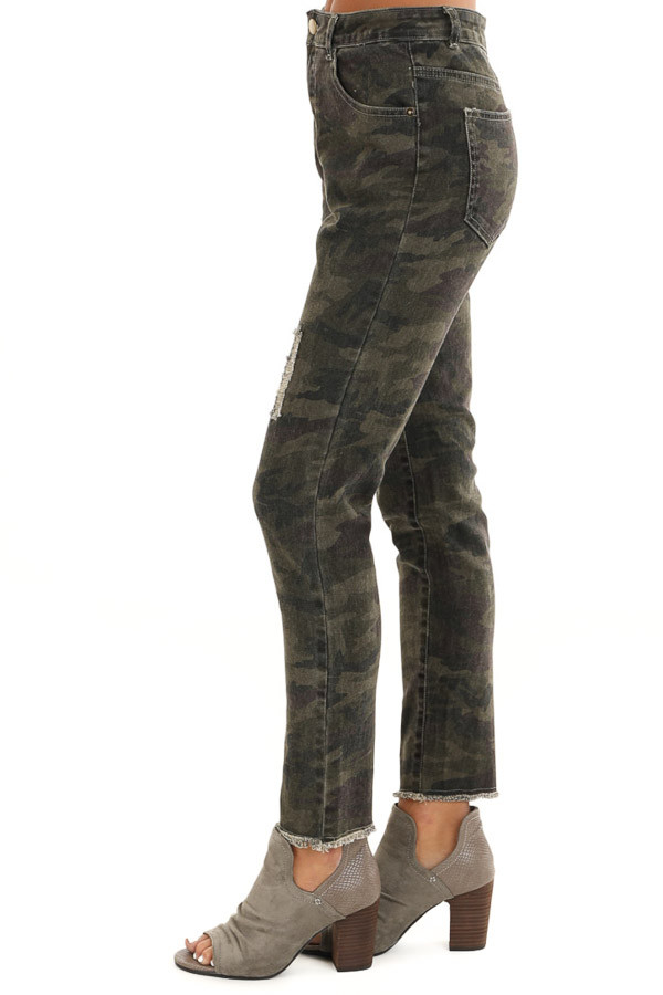 Olive Camo Print Mid Rise Skinny Distressed Denim Jeans side view