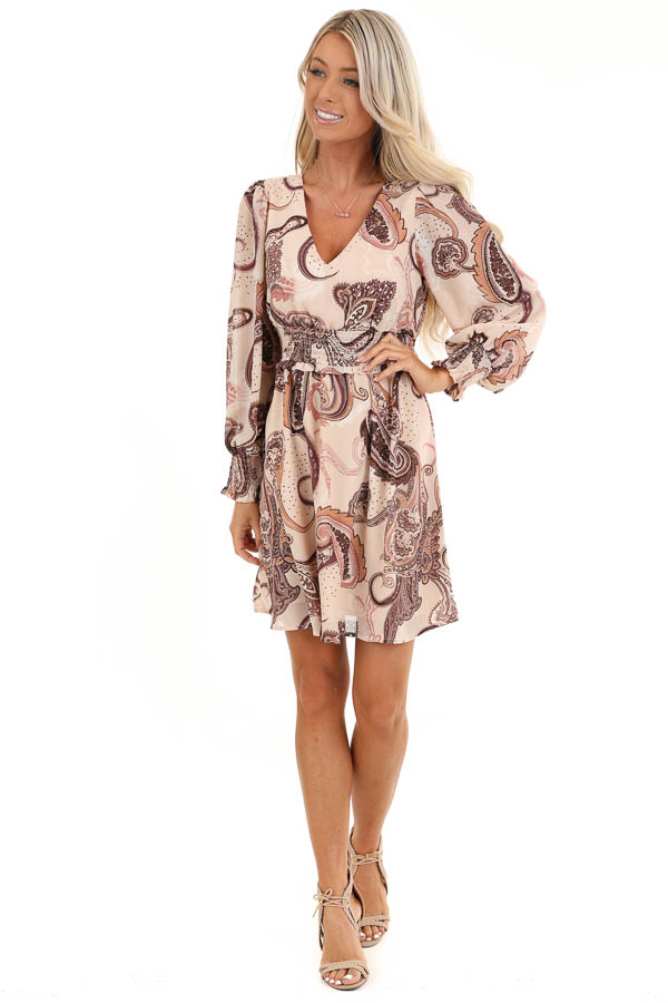Blush and Mauve Paisley Print Mini Dress with V Neckline front full body