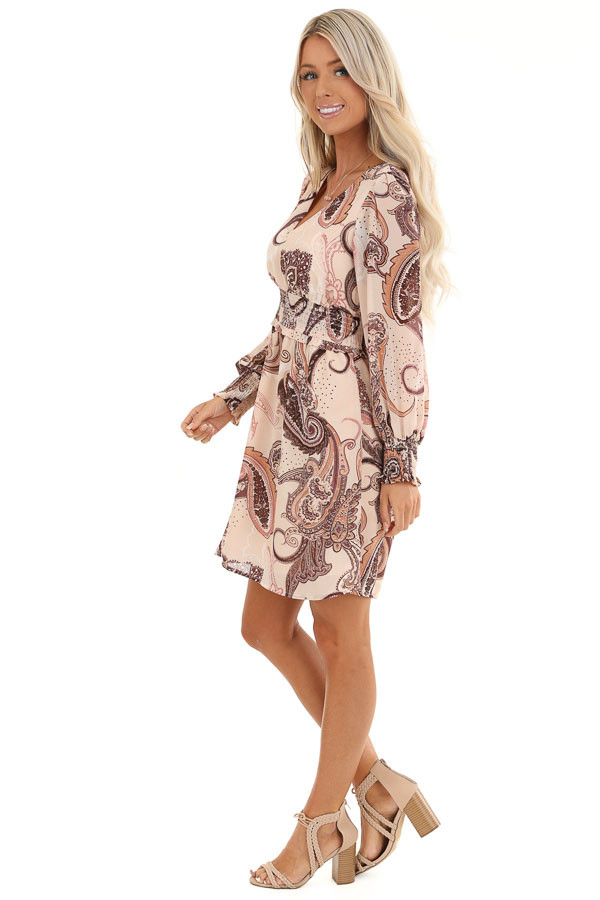 Blush and Mauve Paisley Print Mini Dress with V Neckline side full body
