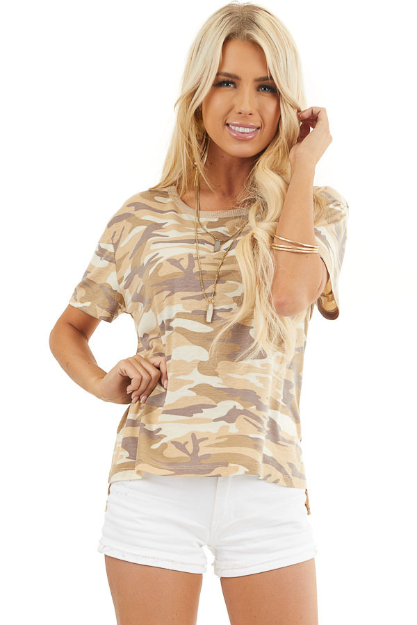 Sand Camo Print Short Sleeve Top with Ribbed Ringer Neckline front close up