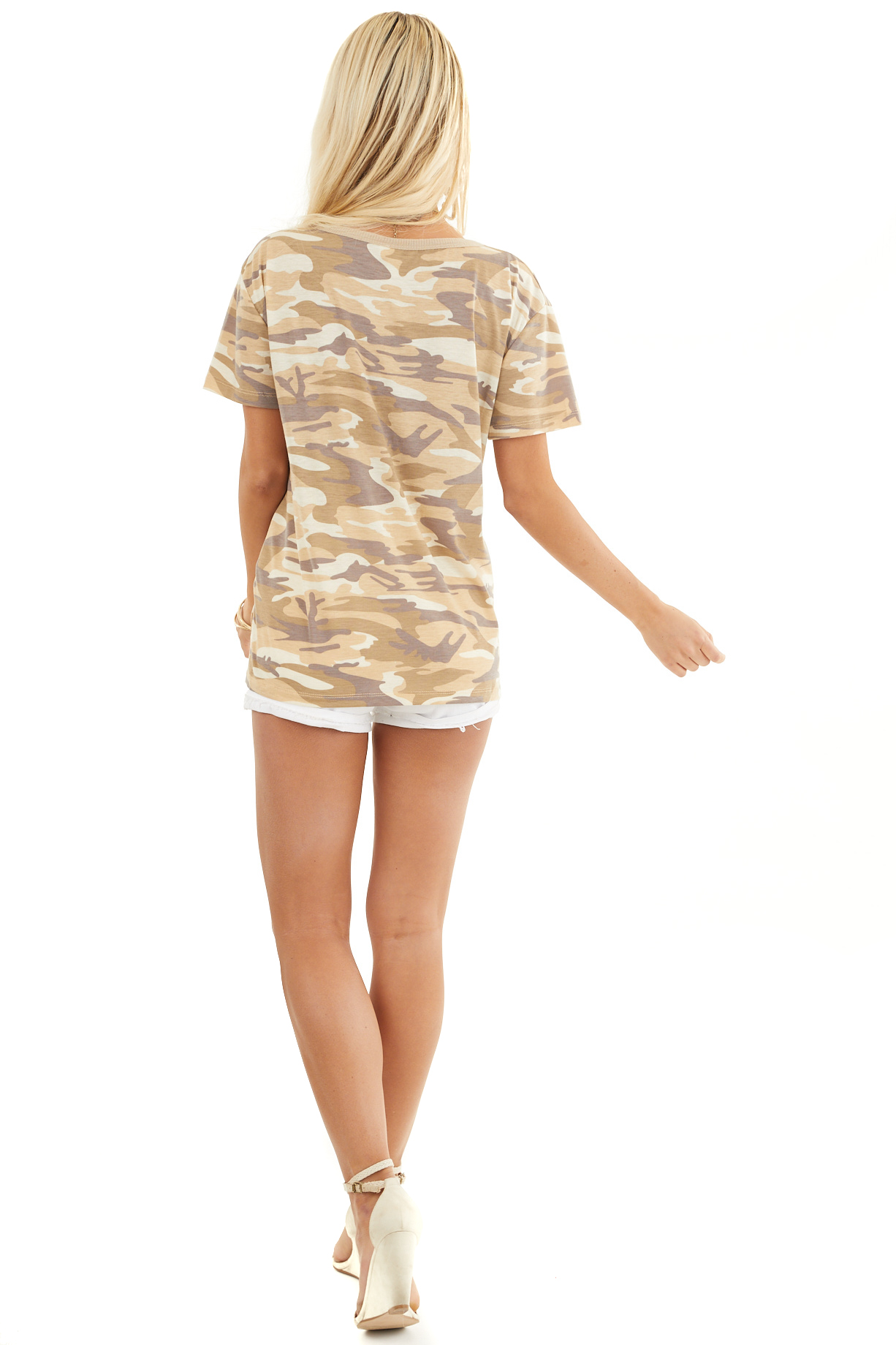 Sand Camo Print Short Sleeve Top with Ribbed Ringer Neckline back full body