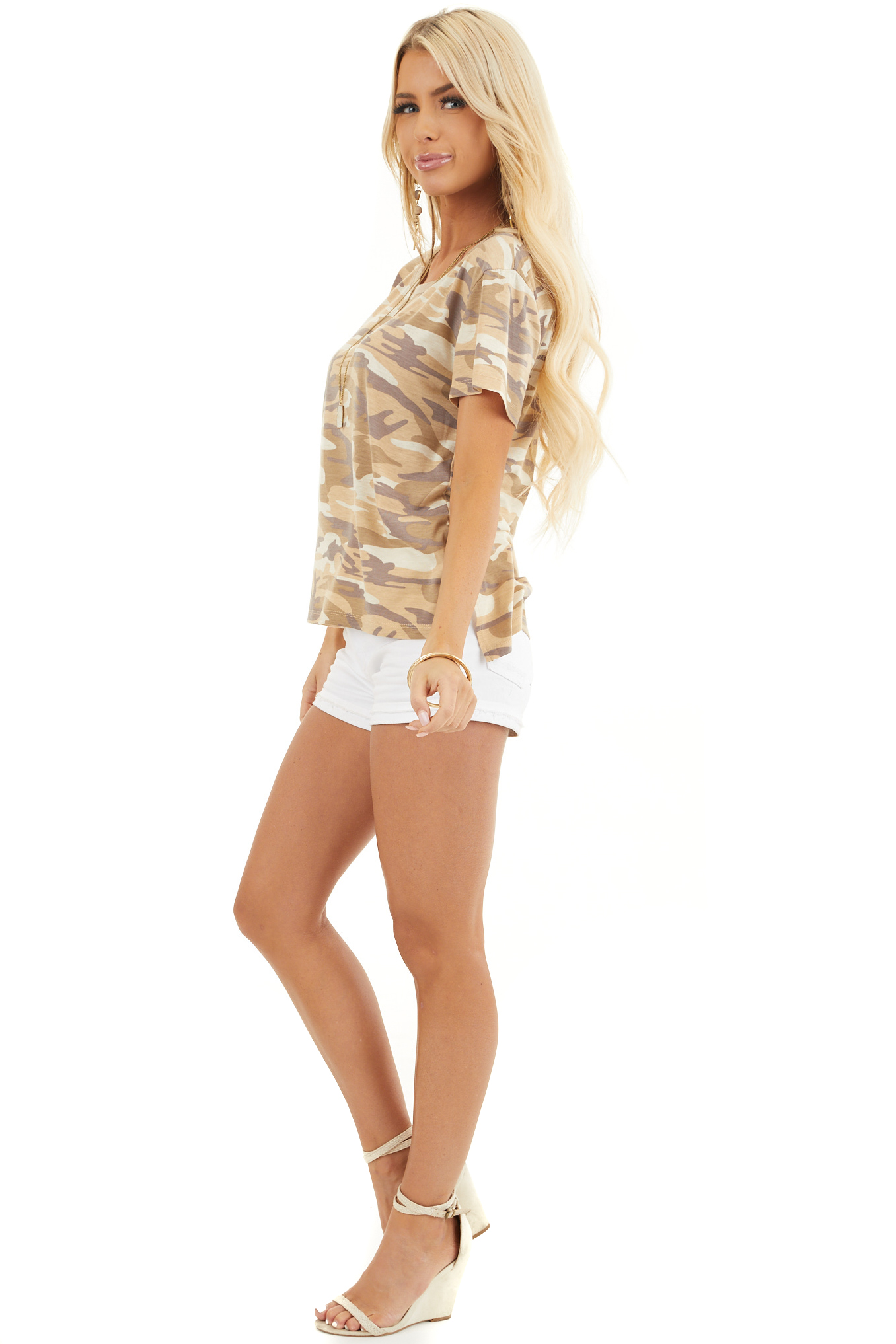 Sand Camo Print Short Sleeve Top with Ribbed Ringer Neckline side full body