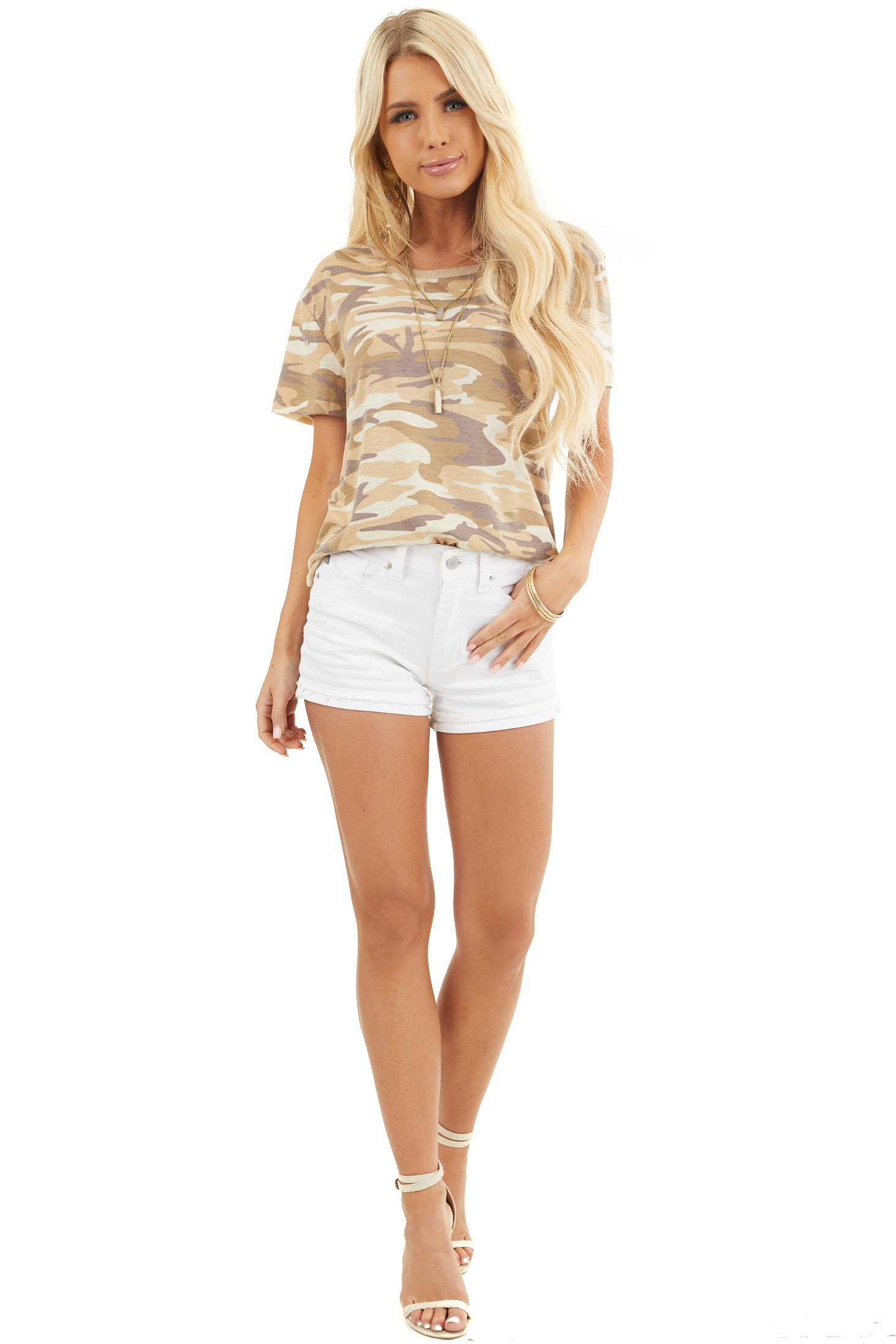 Sand Camo Print Short Sleeve Top with Ribbed Ringer Neckline front full body
