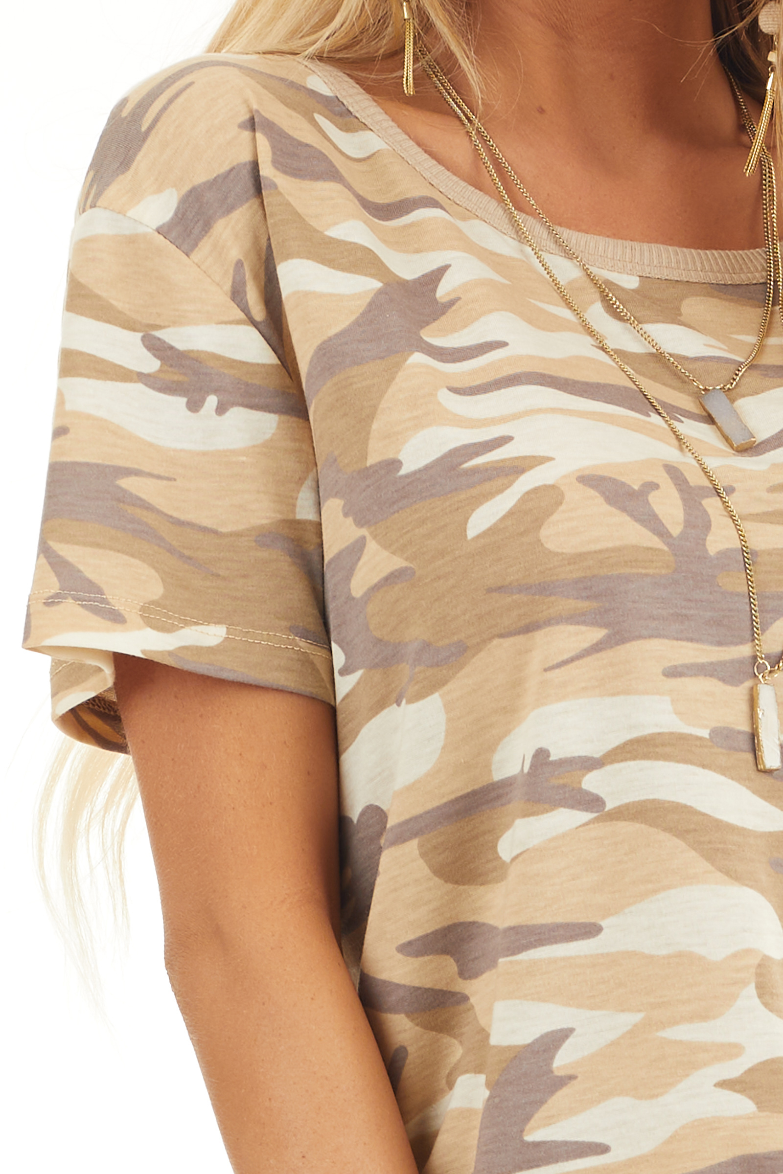 Sand Camo Print Short Sleeve Top with Ribbed Ringer Neckline detail