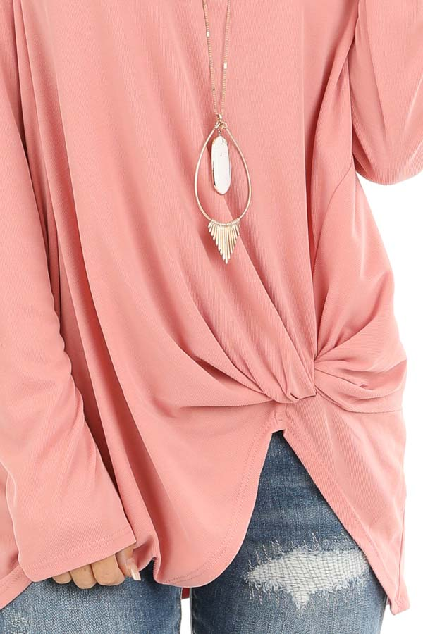 Peach Long Sleeve Top with Front Knot Detail detail