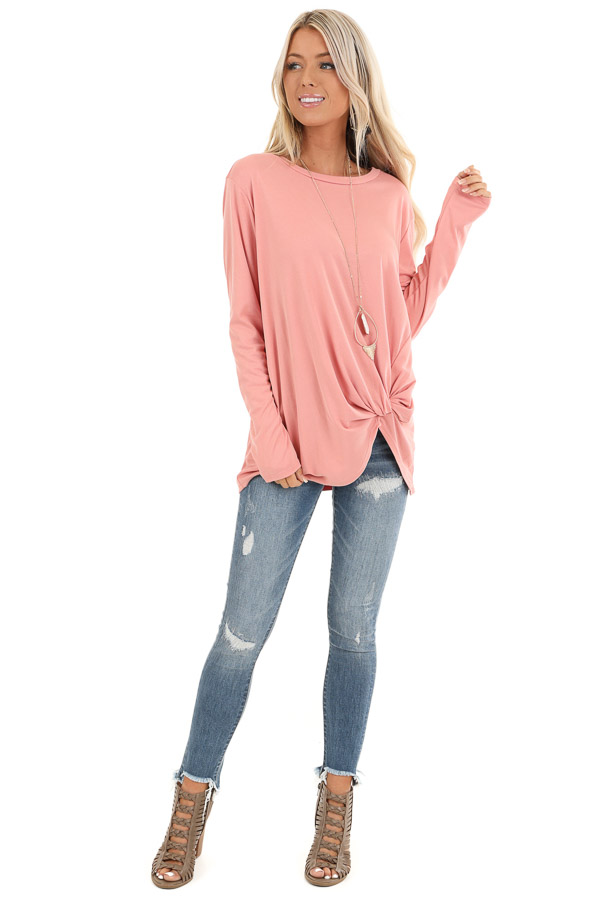 Peach Long Sleeve Top with Front Knot Detail front full body