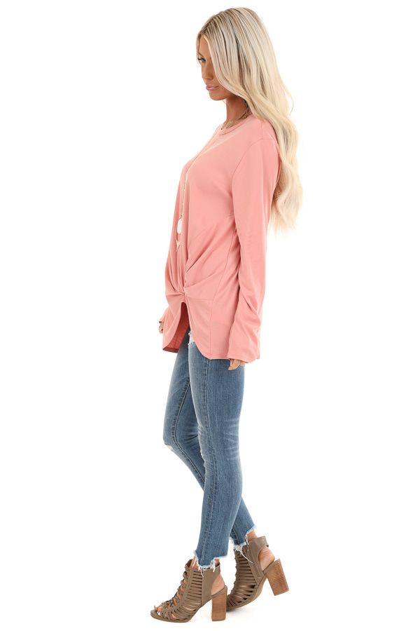 Peach Long Sleeve Top with Front Knot Detail side full body