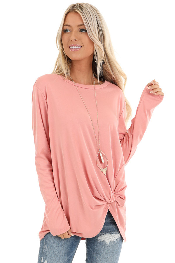 Peach Long Sleeve Top with Front Knot Detail front close up