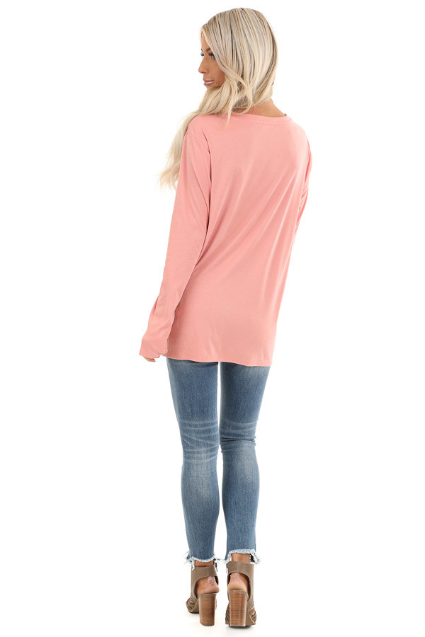 Peach Long Sleeve Top with Front Knot Detail back full body