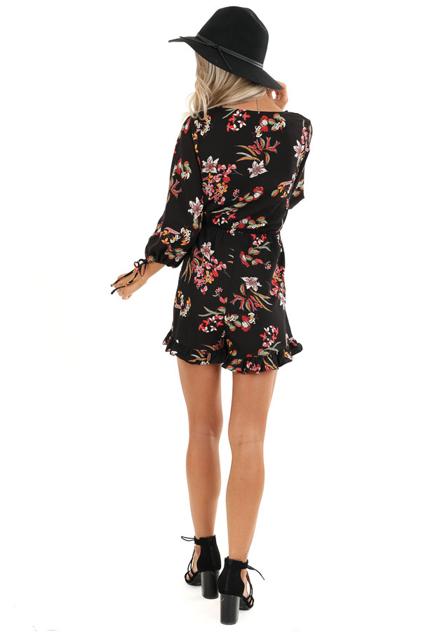Ebony Floral Print 3/4 Sleeve Romper with Button Up Detail back full body