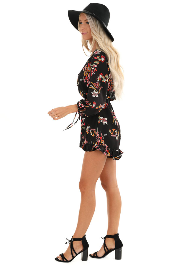 Ebony Floral Print 3/4 Sleeve Romper with Button Up Detail side full body