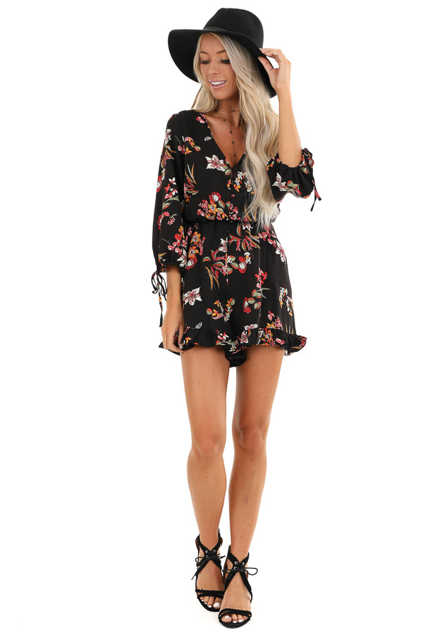 Ebony Floral Print 3/4 Sleeve Romper with Button Up Detail front full body
