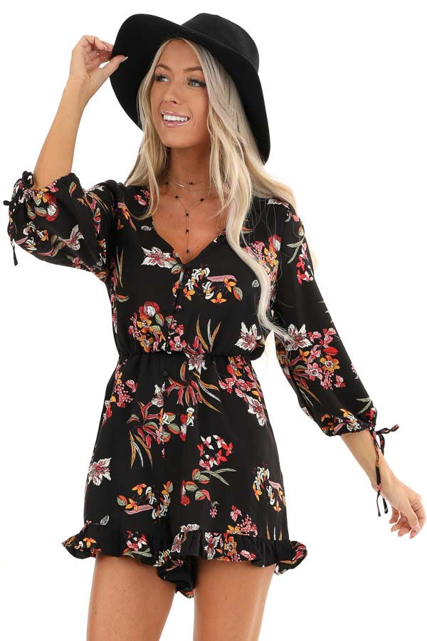 Ebony Floral Print 3/4 Sleeve Romper with Button Up Detail front close up