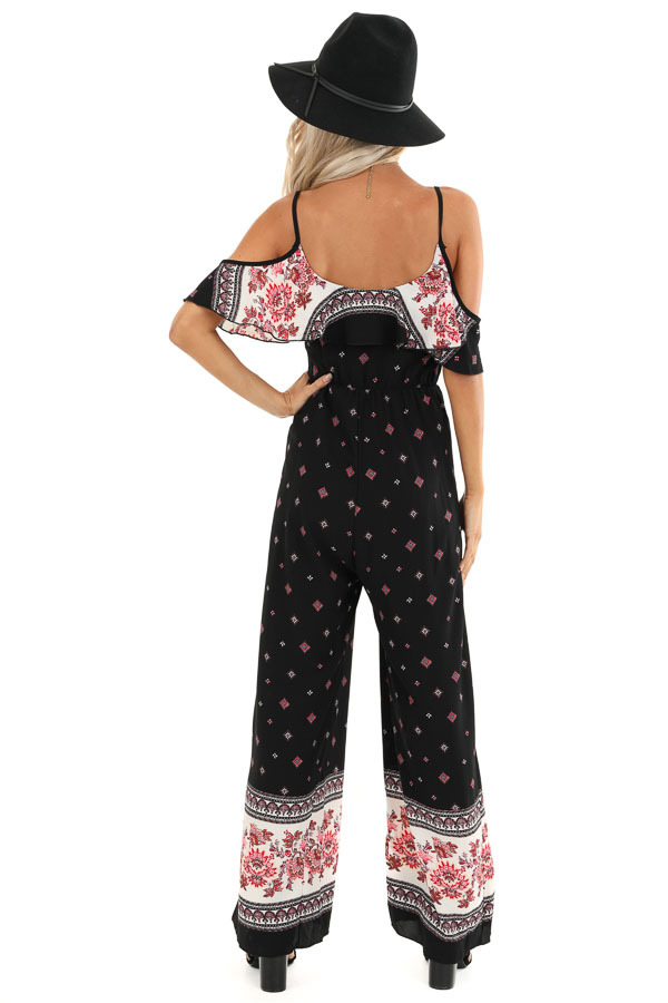Raven Black Abstract Print Cold Shoulder Jumpsuit back full body