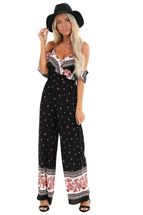 Raven Black Abstract Print Cold Shoulder Jumpsuit front full body