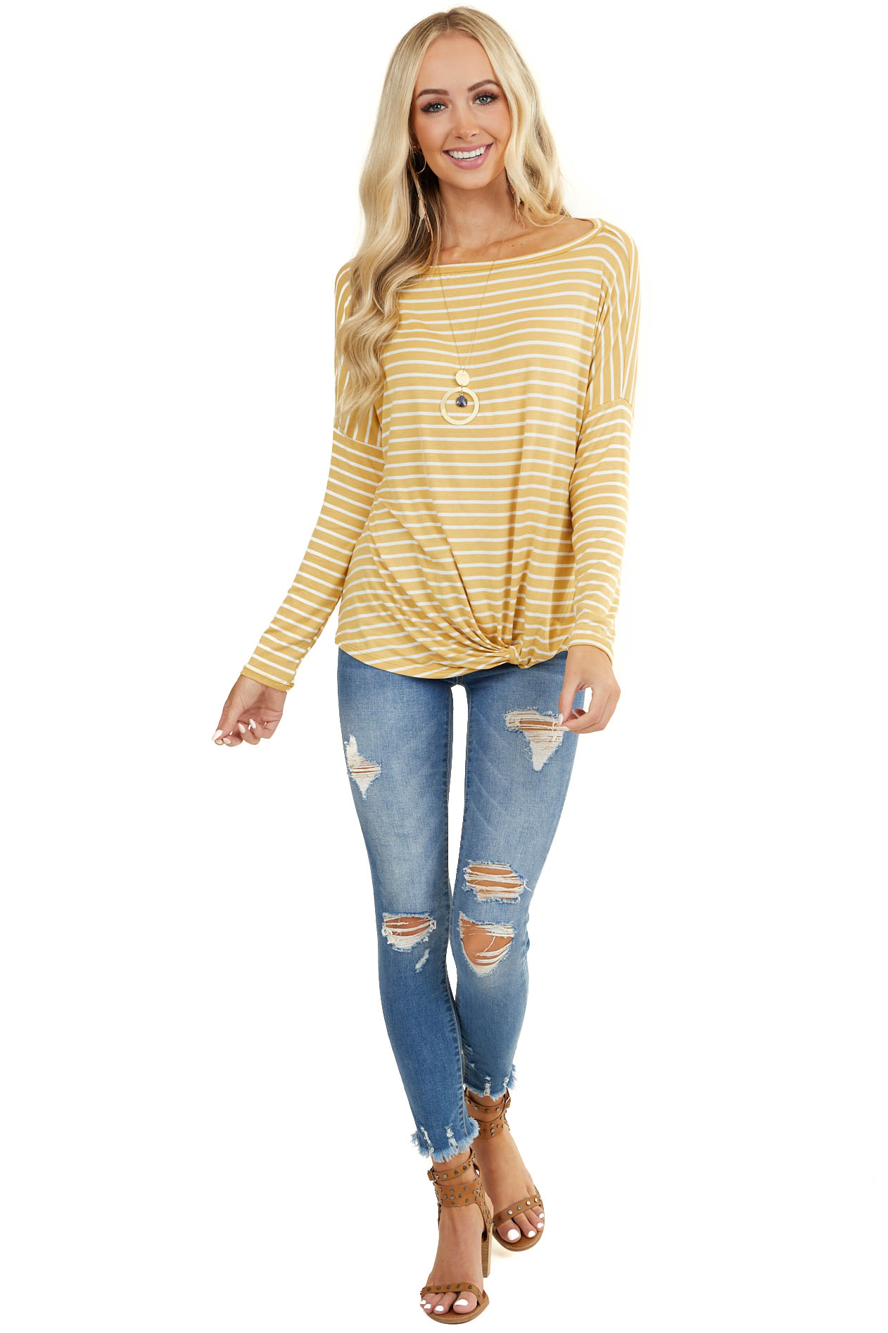 Mustard Striped Wide Neck Top with Front Twist