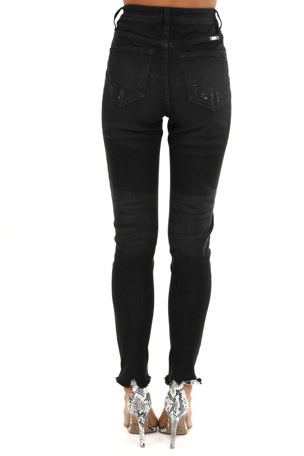 Midnight Black High Waisted Button Up Jeans with Raw Cuffs back view