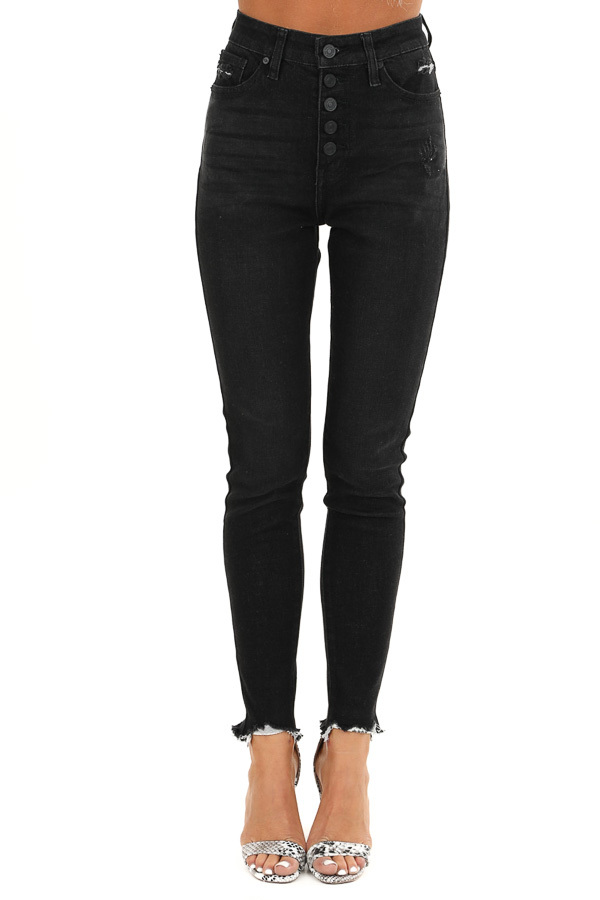 Midnight Black High Waisted Button Up Jeans with Raw Cuffs front view