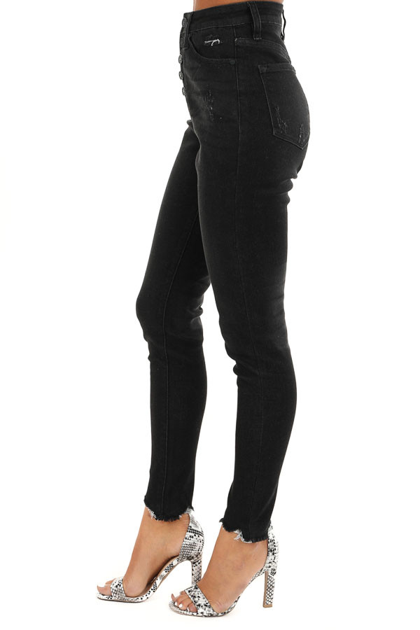 Midnight Black High Waisted Button Up Jeans with Raw Cuffs side view