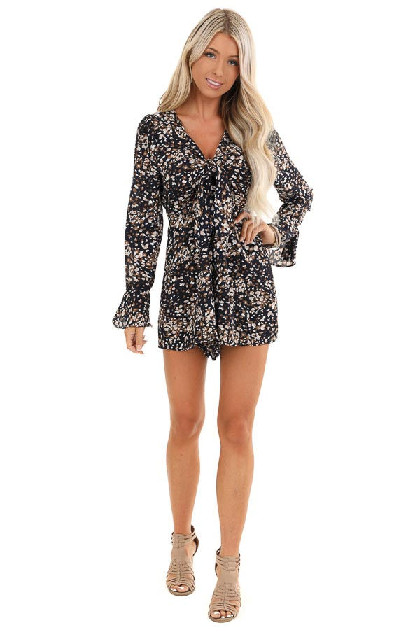 Navy Floral Print Long Sleeve Romper with Front Tie front full body