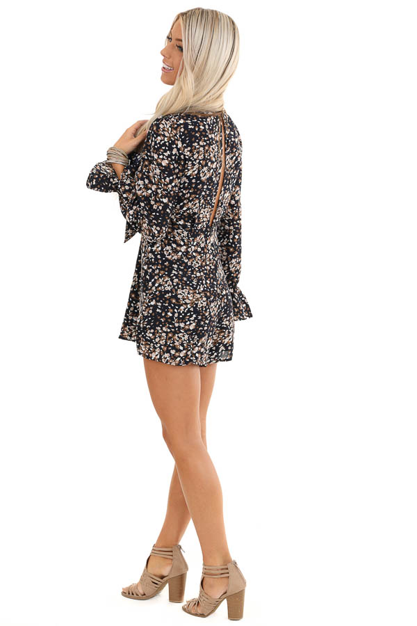 Navy Floral Print Long Sleeve Romper with Front Tie side full body